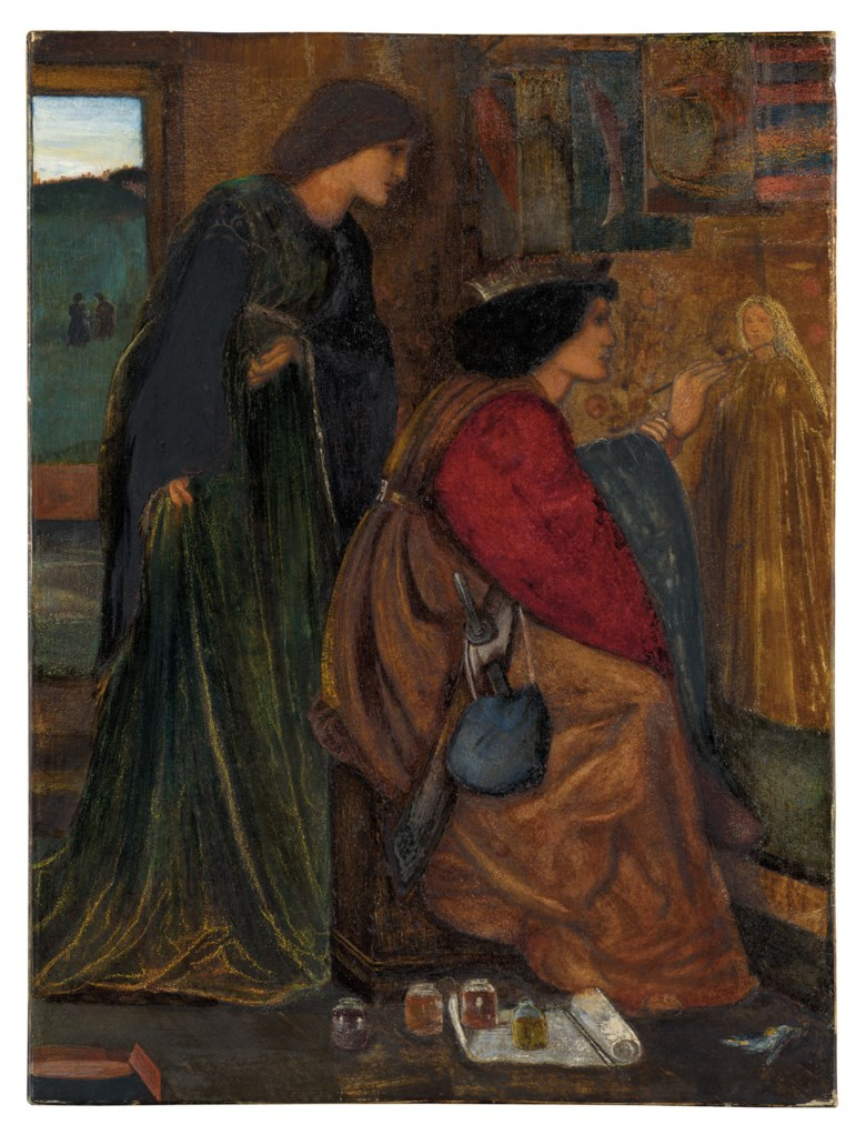 Sir Edward Coley Burne-Jones, Bt., A.R.A., R.W.S. (1833-1898), King René's Honeymoon Painting, 1861. Pencil, watercolour and bodycolour heightened with gum arabic on paper. 24 x 16 in (61 x 40.6 cm). Offered in The Joe Setton Collection from Pre-Raphaelites to Last Romantics on 10 December 2020 at Christie's in London