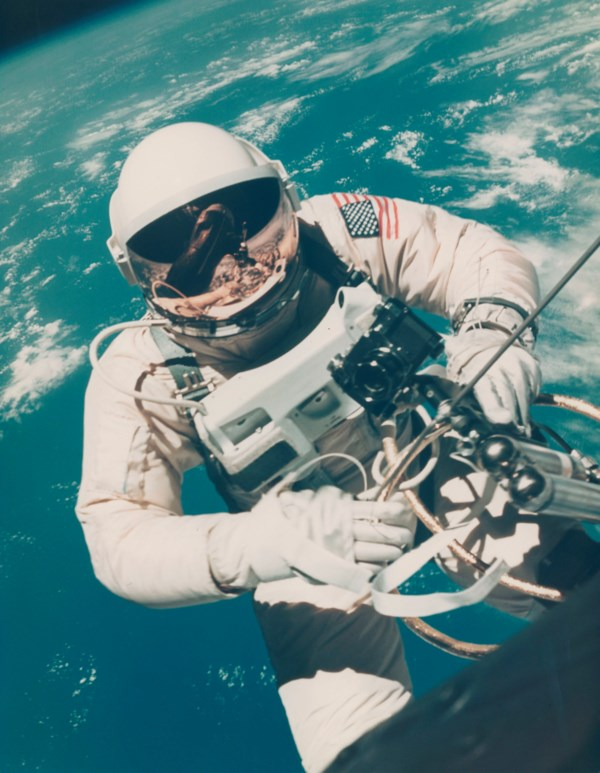 The first photograph of man in space [Large Format], Ed White's first American EVA over Hawaii, June 3-7, 1965