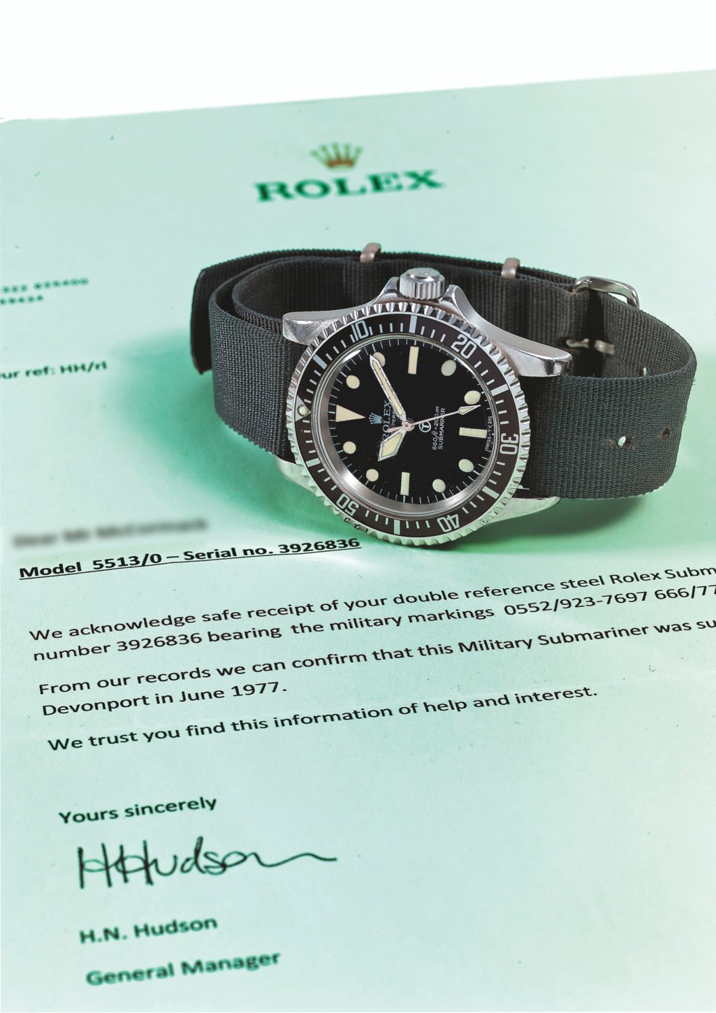 """ROLEX, STEEL SUBMARINER """"MILSUB"""", REF. 5513/17- MADE FOR THE BRISTISH ROYAL NAVY"""