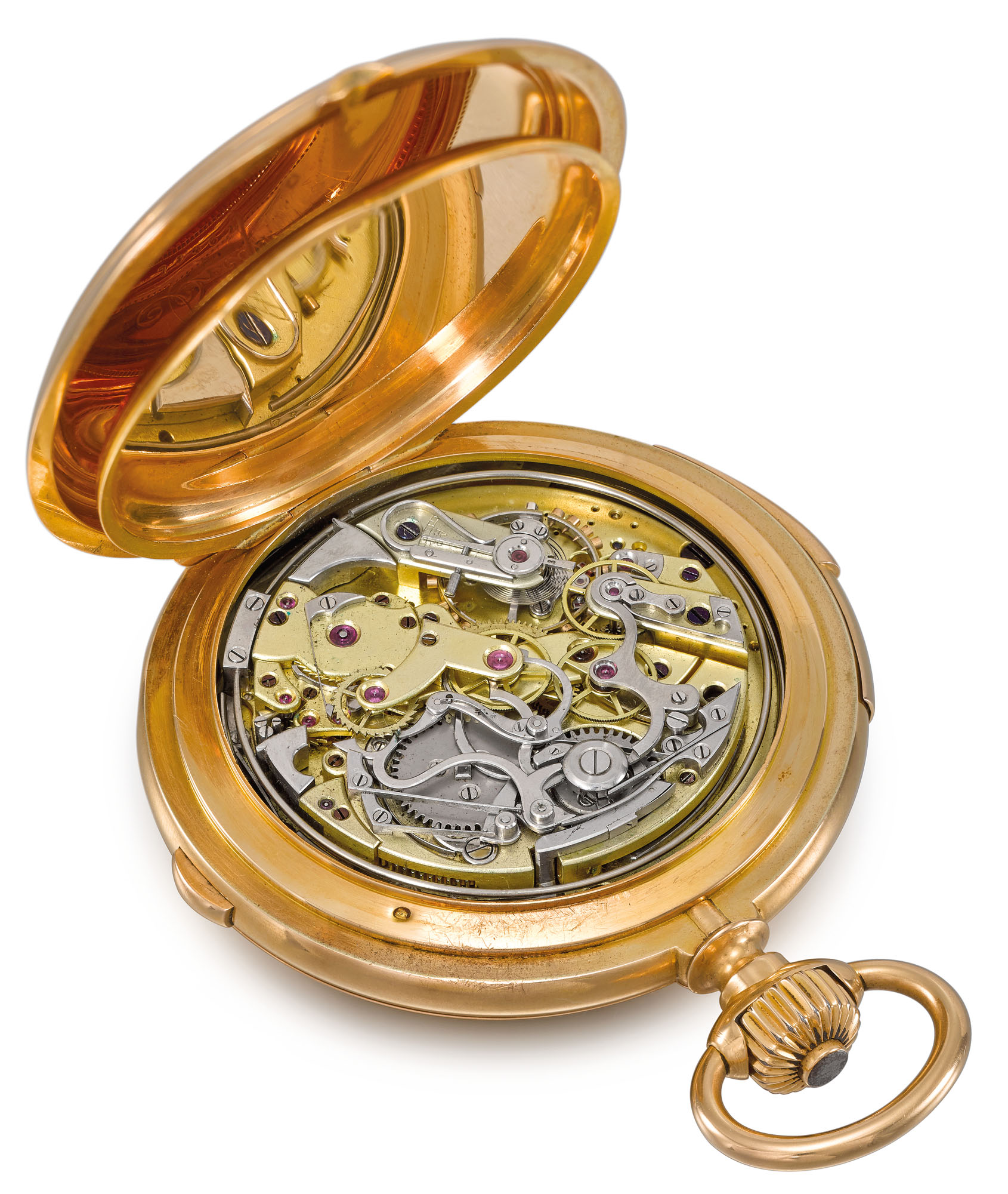 Breguet. A very fine, extremely rare and large 18K gold hunter case minute repeating perpetual calendar chronograph keyless lever watch with moon phases