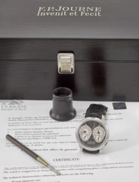 F.P. Journe. A very fine and rare platinum dual time chronometer wristwatch with resonance-controlled twin independent gear-train movement, power reserve, ruthenium-plated movement, certificate and box