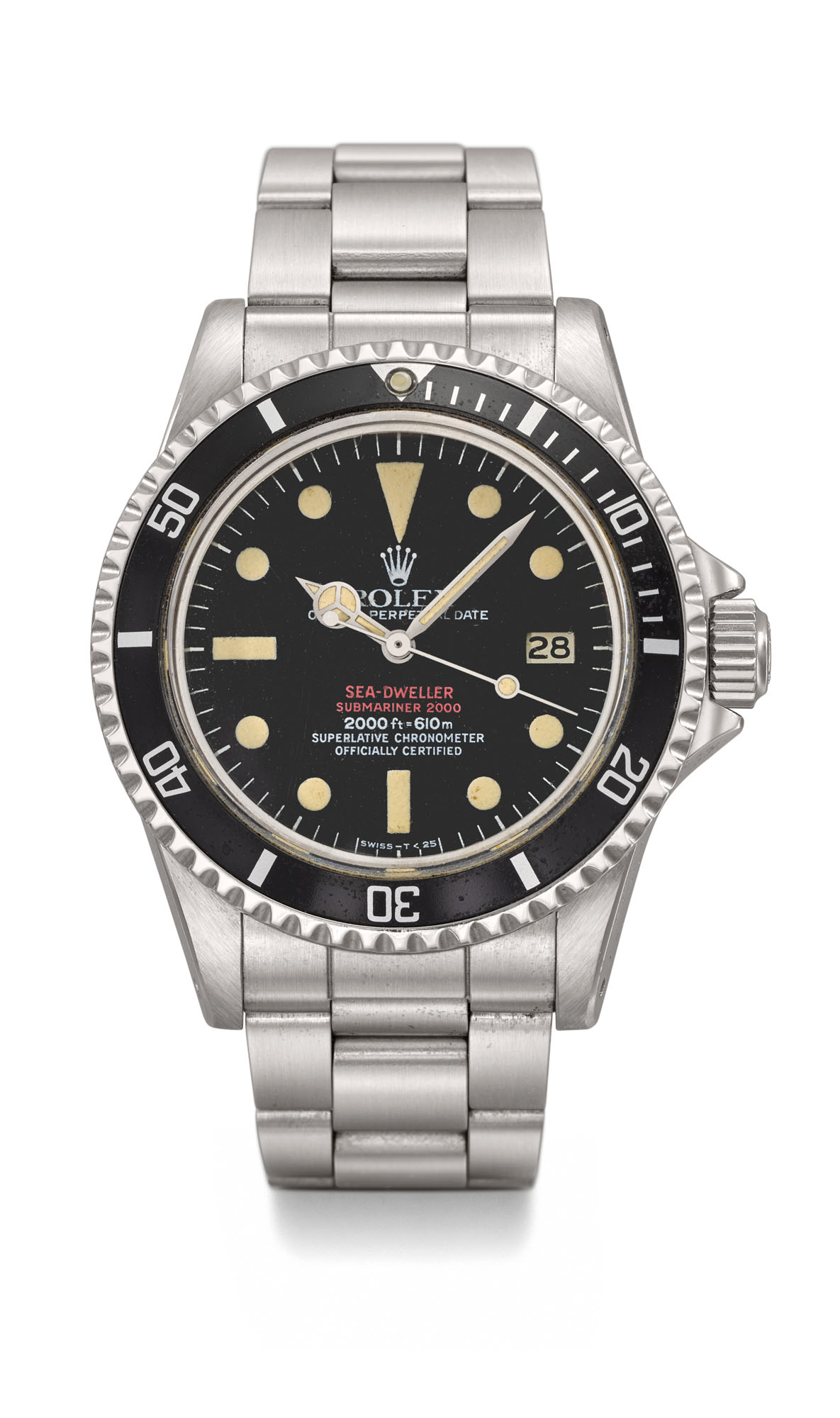 ROLEX. A VERY FINE AND RARE STAINLESS STEEL AUTOMATIC WRISTWATCH WITH SWEEP CENTRE SECONDS, HELIUM GAS ESCAPE VALVE, DATE, BRACELET, ORIGINAL GUARANTEE AND BOX