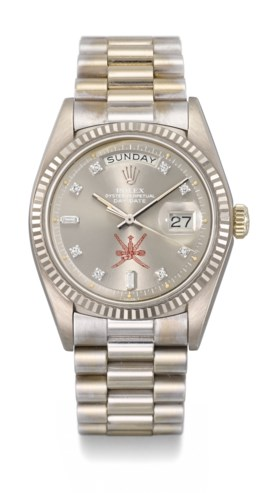 ROLEX A VERY FINE AND RARE 18K WHITE GOLD AUTOMATIC WRISTWAT