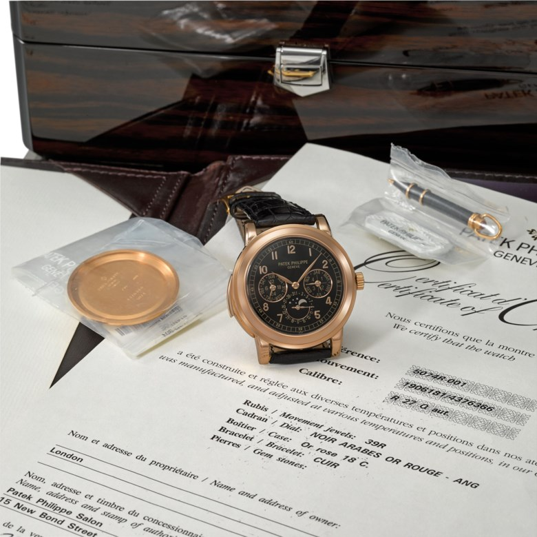 Patek Philippe. A very fine and rare 18K pink gold automatic minute repeating perpetual calendar wristwatch with moon phases, 24-hour indication, additional solid case back, original certificate and box, manufactured in 2006. Sold for CHF 387,000 in Rare Watches on 20 July 2020 at Christie's in Geneva