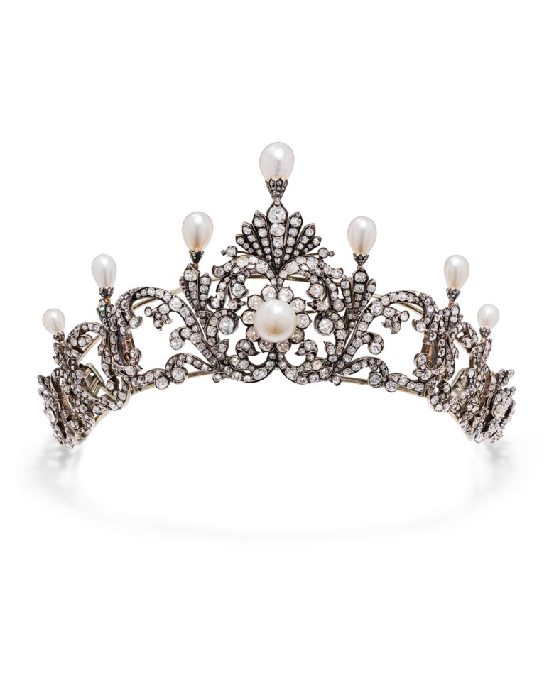 Late 19th-century natural pearl and diamond tiara. Seven drop and one button-shaped natural pearls, old, circular-cut and cushion-shaped diamonds, detachable in eight elements, three can be worn as separated brooches, 1890s, inner circumference 37.5 cm. Estimate CHF 90,000-130,000. Offered in Magnificent Jewels on 22 July 2020 at Christie's in Geneva