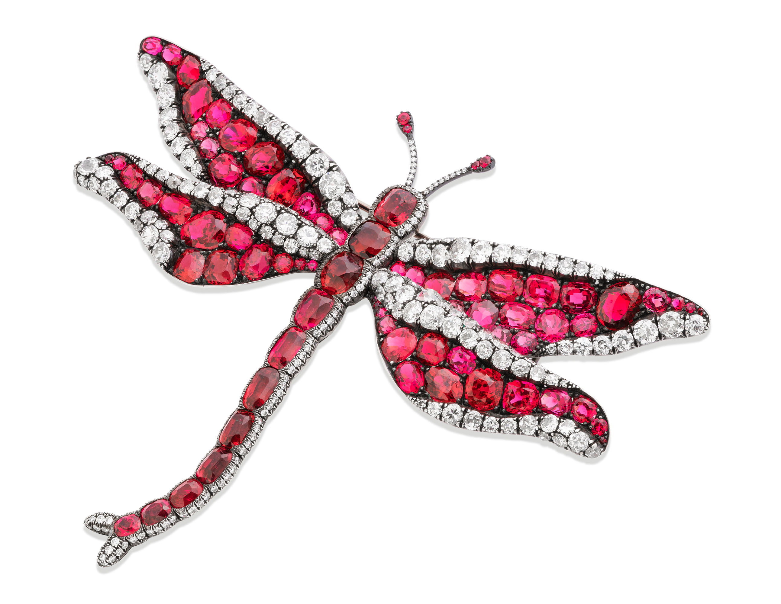 SPINEL AND DIAMOND BROOCH