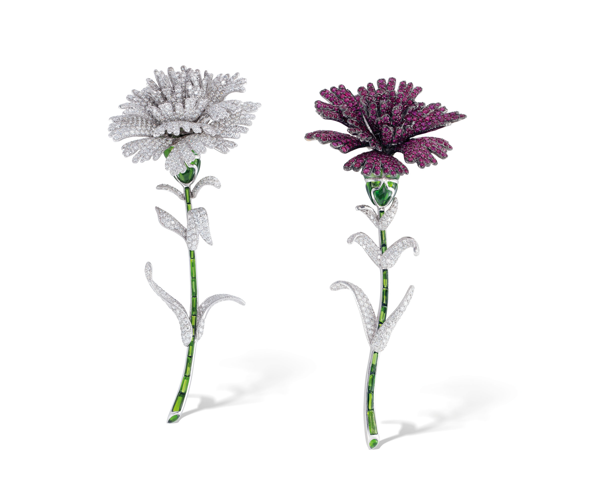 Diamond, spinel and green tourmaline Carnation brooches, Michele Della Valle. SizeDimensions 12.0 and 12.5 cm. Estimate CHF 50,000-70,000. Offered in Magnificent Jewels on 10 November 2020 at Christie's in Geneva