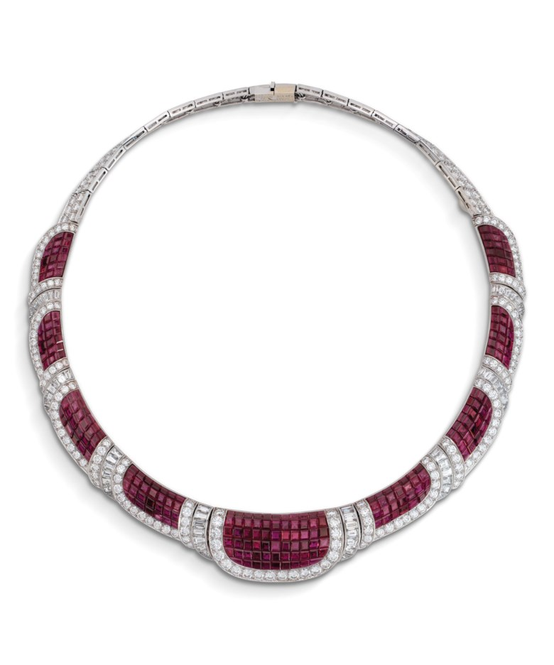 Rare ruby and diamond Mystery Set necklace, by Van Cleef & Arpels. Estimate CHF 150,000-200,000. Offered in Magnificent Jewels on 10 November 2020 at Christie's in Geneva