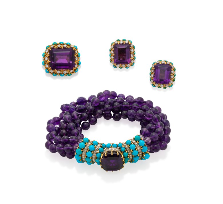 Cartier amethyst, turquoise and diamond bracelet, earring and ring set, circa 1960. Estimate CHF 30,000-50,000. Offered in  Geneva Magnificent Jewels Online, 27 October to 11 November 2020, Online