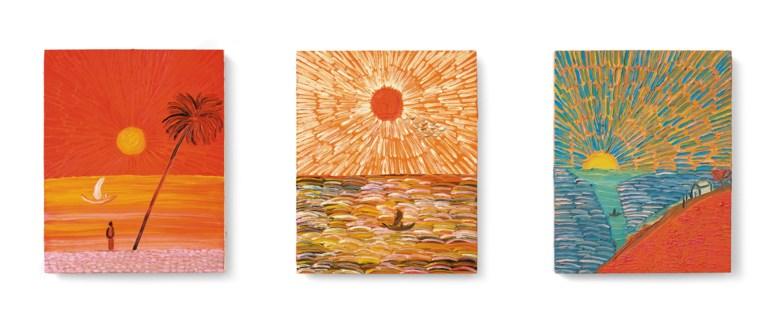 王俊傑(1984-2019),《歸途》,2017年作。油彩 木板(三聯作)。單幅:19⅞ x 16英寸(50.5 x 40.5公分)。估價︰700,000-1,500,000港元。此作將於2020年12月2日在佳士得香港現代及當代藝術晚間拍賣中呈獻