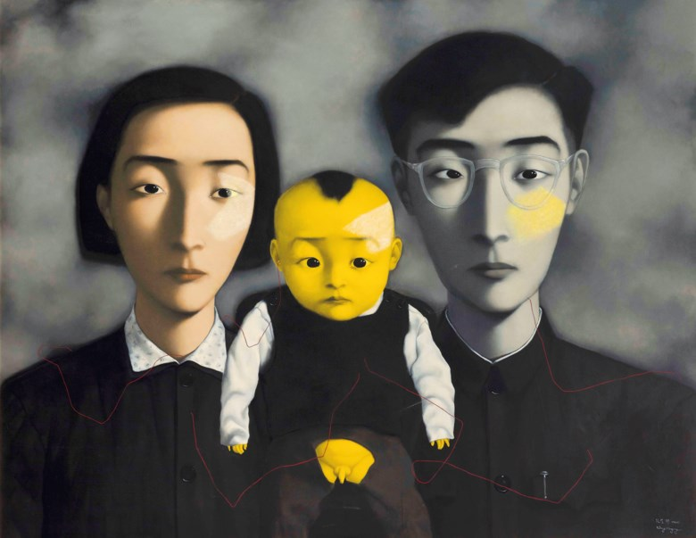 Zhang Xiaogang (b. 1958), Bloodline Series The Big Family No. 2, 1995. Oil on canvas. 180 x 230  cm (70⅞ x 90½  in). Sold for HK$98,035,000 on 2 December 2020 at Christie's in Hong Kong
