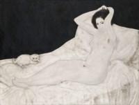 Nu sur un lit, avec un chien (Reclining Nude with A Small Dog)