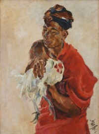 Balinese Holding a Rooster