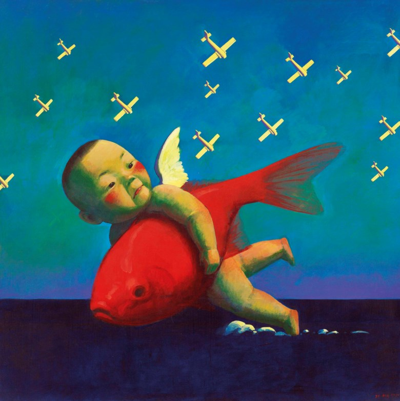 刘野(1964年生),《男孩与鱼2》,1998年作。压克力 画布。100 x 100公分(39 38 x 39 38英寸)。此作于2020年12月3日在佳士得香港售出,成交价15,850,000港元