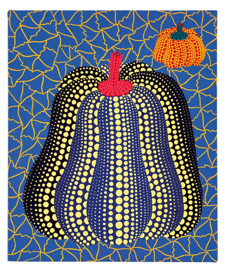 YAYOI KUSAMA (B. 1929), Pumpkin, 1989. acrylic on canvas. 46 x 38 cm. (18 18 x 15 in.). Sold for HK$15,250,000 on 3 December 2020 at Modern and Contemporary Art Afternoon Session