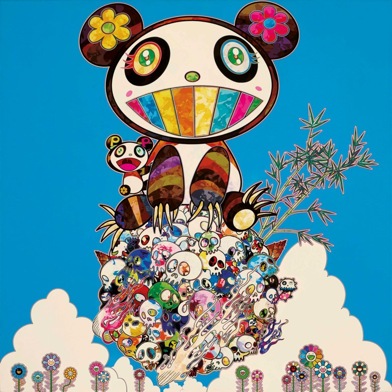 Takashi Murakami (b. 1962), A Panda Family Against the Blue Sky, 2014. Acrylic on canvas. 100 x 100  cm (39⅜ x 39⅜  in). Estimate HK$3,200,000-5,500,000. Offered in the Modern and Contemporary Art Afternoon Session on 3 December 2020 at Christie's in Hong Kong