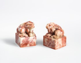 A PAIR OF SHOUSHAN SOAPSTONE SEALS FOR PRINCE YI