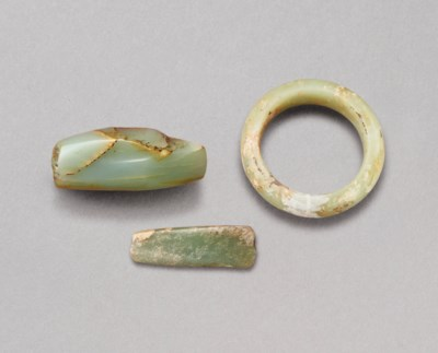 TWO SMALL CELADON AXES AND A Y