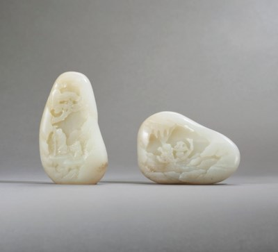 TWO CARVED WHITE JADE MOUNTAIN