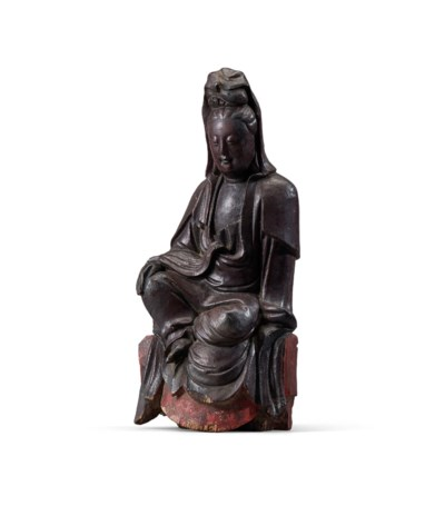 A LACQUERED WOOD FIGURE OF GUA