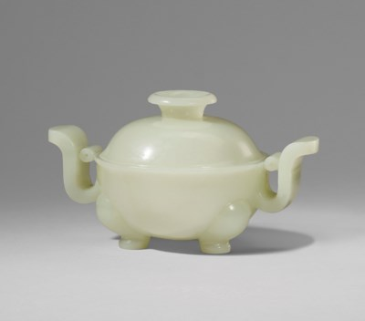A WHITE JADE TRIPOD CENSER AND