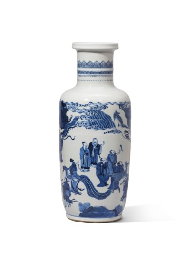 A BLUE AND WHITE 'FIGURAL' ROU