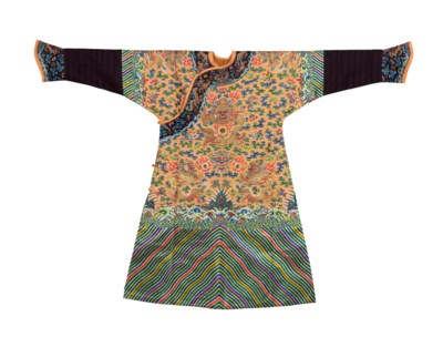 AN APRICOT-GROUND EMBROIDERED