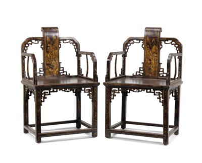 A PAIR OF GILT-LACQUER 'LANDSC
