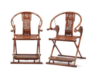 A PAIR OF HUANGHUALI FOLDING H