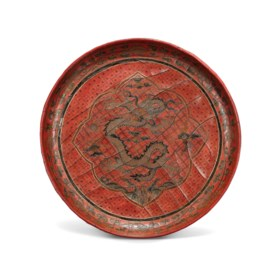 AN IMPERIAL TIANQI AND QIANGJIN 'DRAGON AND PEARL' DISH