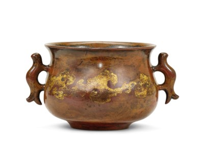 A GILT-SPLASHED BRONZE CENSER,