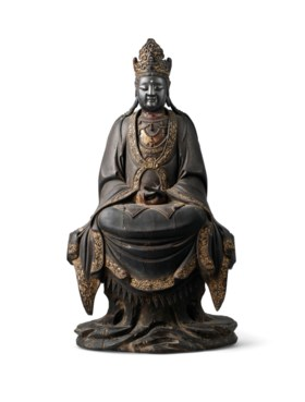 A FINE AND RARE DOCUMENTED LACQUERED-WOOD FIGURE OF AVALOKIT