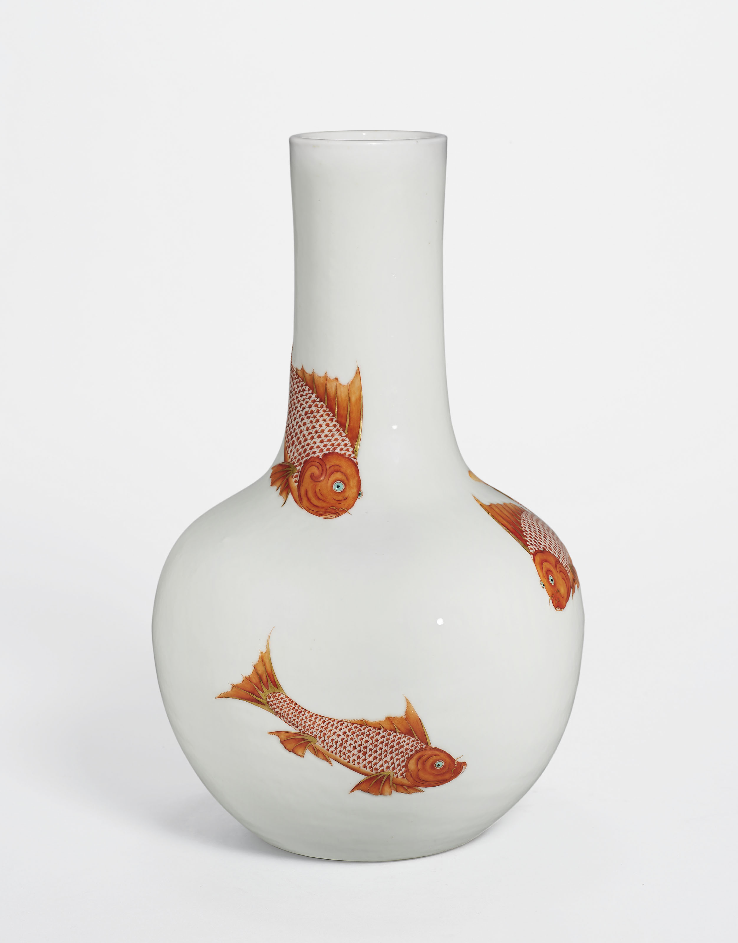 A rare MOULDED IRON-RED AND GILT-DECORATED 'FISH' VASE, TIANQIUPING