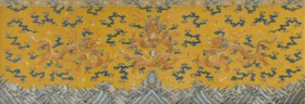 A RARE IMPERIAL EMBROIDERED YELLOW SILK 'DRAGON' ALTAR FRONT