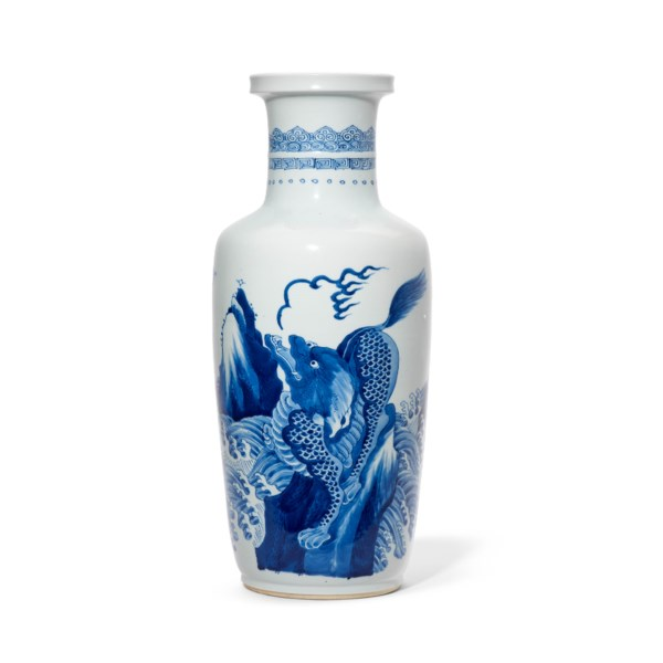 A BLUE AND WHITE 'QILIN' ROULEAU VASE