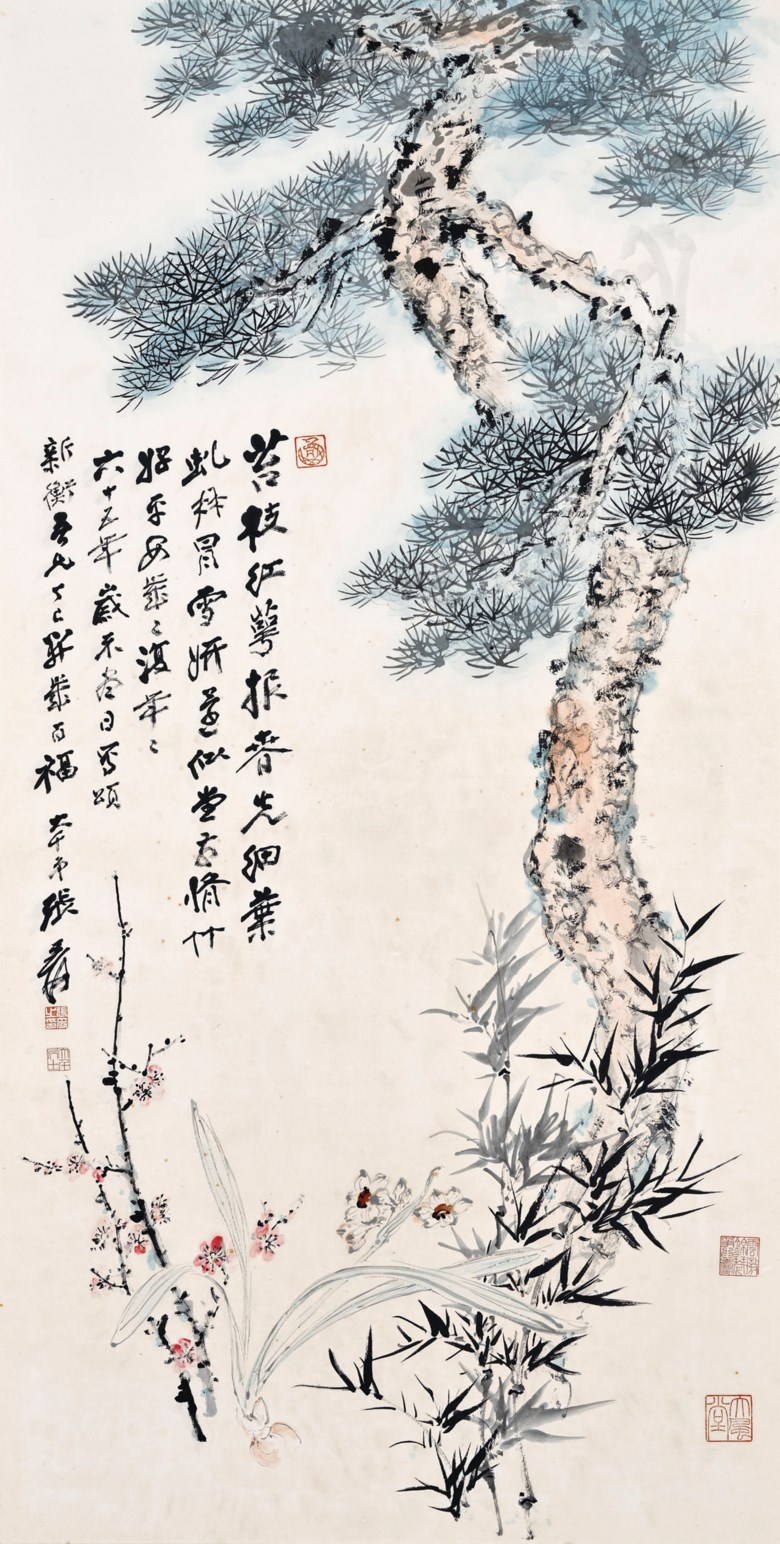 Zhang Daqian (1899-1983), Bamboo, Plum and Pine. Scroll, mounted and framed, ink and colour on paper. 137.3 x 70.3  cm (54 x 27⅝ in). Estimate HK$2,000,000-2,500,000. Offered in Fine Chinese Modern and Contemporary Ink Paintings on 8 July 2020 at Christie's in Hong Kong