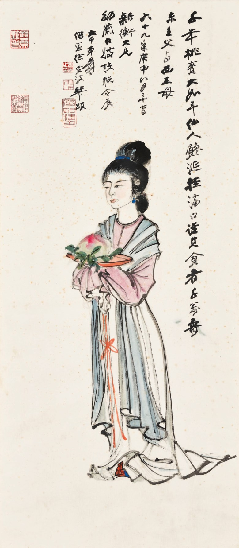 Zhang Daqian (1899-1983), Birthday Offerings. Scroll, mounted and framed, ink and colour on paper. 104.8 x 45.8  cm (41¼ x 18 in). Estimate HK$1,200,000-2,000,000. Offered in Fine Chinese Modern and Contemporary Ink Paintings on 8 July 2020 at Christie's in Hong Kong