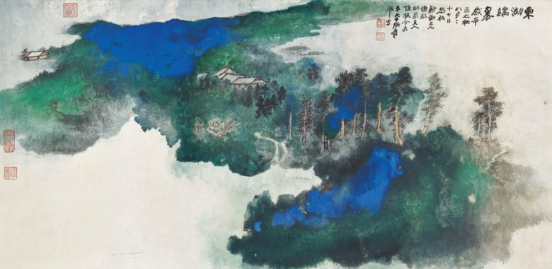 Zhang Daqian (1899-1983), Verdant East Lake. Scroll, mounted and framed, ink and colour on paper. 66.5 x 136  cm (26⅛ x 53 ½  in). Estimate HK$40,000,000-60,000,000. Offered in Fine Chinese Modern and Contemporary Ink Paintings on 8 July 2020 at Christie's in Hong Kong