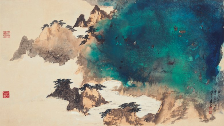 Zhang Daqian (1899-1983), Pine Trees and Clouds in Mount Huang. Scroll, mounted and framed, ink and colour on paper. 57.5 x 102  cm (22⅝ x 40⅛  in). Estimate HK$3,000,000-6,000,000. Offered in Fine Chinese Modern and Contemporary Ink Paintings on 8 July 2020 at Christie's in Hong Kong