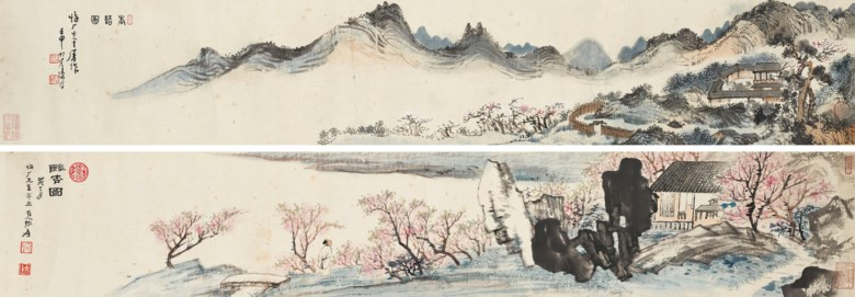 Zhang Daqian (1899-1983)  Pu Ru (1896-1963), Peach Blossoms. A pair of handscrolls, ink and colour on paper. Each scroll measures 16 x 94.5  cm (6¼ x 37¼  in). Estimate HK$2,500,000-3,500,000. Offered in Fine Chinese Modern and Contemporary Ink Paintings on 8 July 2020 at Christie's in Hong Kong