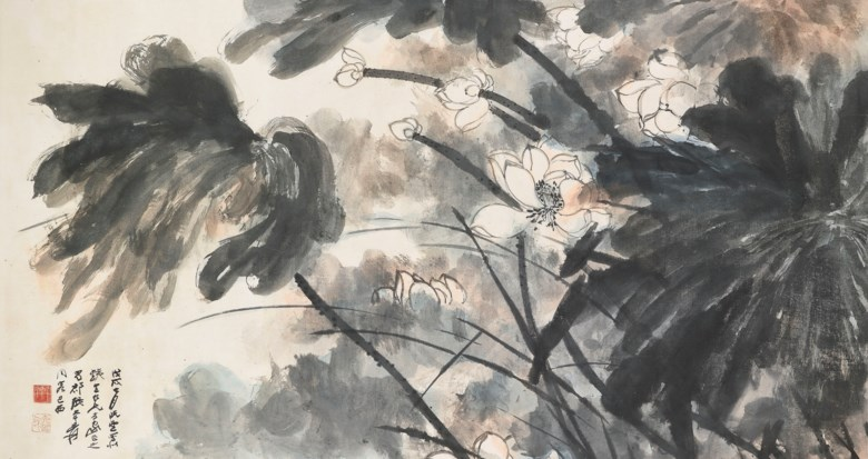 Zhang Daqian (1899-1983), Lotus in the Wind. Scroll, mounted and framed, ink and colour on paper. 101 x 189.7  cm (39 ¾ x 74⅝  in). Estimate HK$5,000,000-7,000,000. Offered in Fine Chinese Modern and Contemporary Ink Paintings on 8 July 2020 at Christie's in Hong Kong