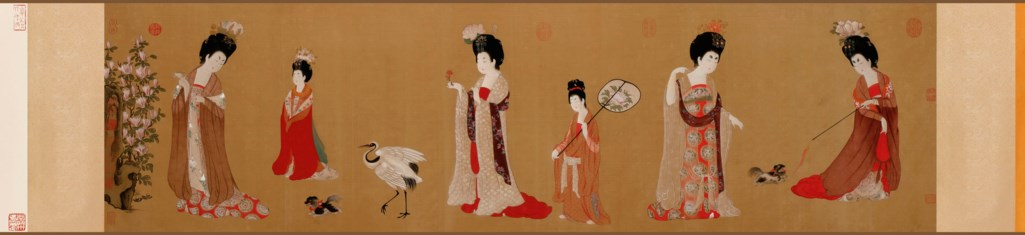 COURT LADIES WEARING FLOWERED HEADDRESSES WOODBLOCK PRINT