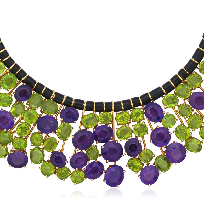 Amethyst and peridot necklace. SizeDimensions 37.8 cm length, 4.8 cm drop. Sold for HK$100,000 in  Jewels Online, 28 April to 8 May 2020, Online