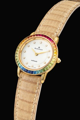 BLANCPAIN A LADY'S 18K GOLD, DIAMOND AND RAINBOW-COLOURED MU