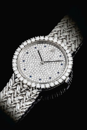 AUDEMARS PIGUET A PLATINUM, DIAMOND AND SAPPHIRE-SET BRACELE