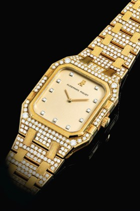 AUDEMARS PIGUET AN 18K GOLD AND DIAMOND-SET BRACELET WATCH
