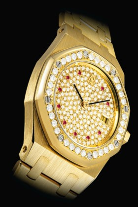 AUDEMARS PIGUET A RARE 18K GOLD, DIAMOND AND RUBY-SET MID-SI