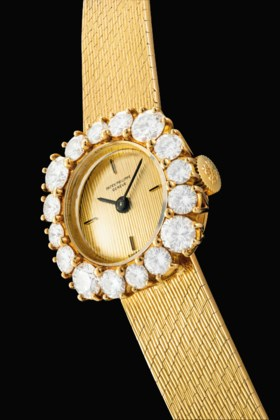 PATEK PHILIPPE A LADY'S RARE 18K GOLD AND DIAMOND-SET BRACEL
