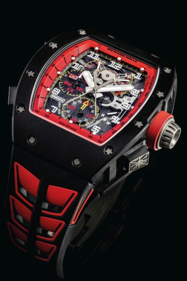 Richard Mille. An extremely rare carbon limited edition tonneau-shaped skeletonised split seconds chronograph wristwatch with power reserve and torque indicators. Signed Richard Mille, Felipe Massa model, ref. rm004, circa 2015. Estimate HK$2,000,000-3,000,000. Offered in IMPORTANT WATCHES Including The Titanium Collection and an Important Private Asian Collection Part 3 on 13 July 2020 at