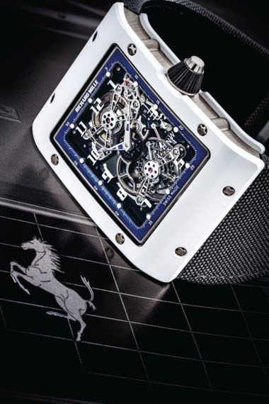 Richard Mille. A unique 18k white gold and white ceramic rectangular sekeltonised tourbillon wristwatch with power reserve and function selector. Signed Richard Mille, tourbillon extra flat model, ref. rm017, circa 2017. Estimate HK$2,400,000-3,500,000. Offered in IMPORTANT WATCHES Including The Titanium Collection and an Important Private Asian Collection Part 3 on 13 July 2020 at